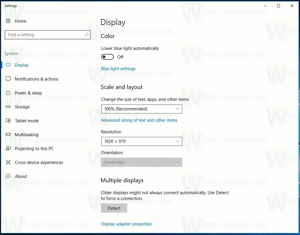 Windows 10 Creators Update Display Settings