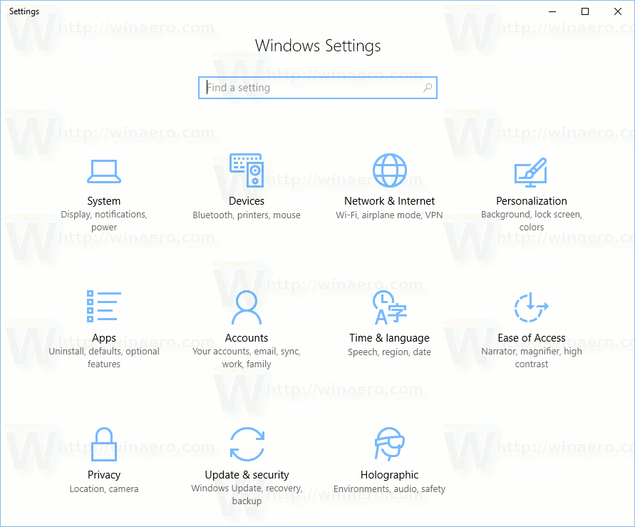 Windows 10 Creators Update Settings