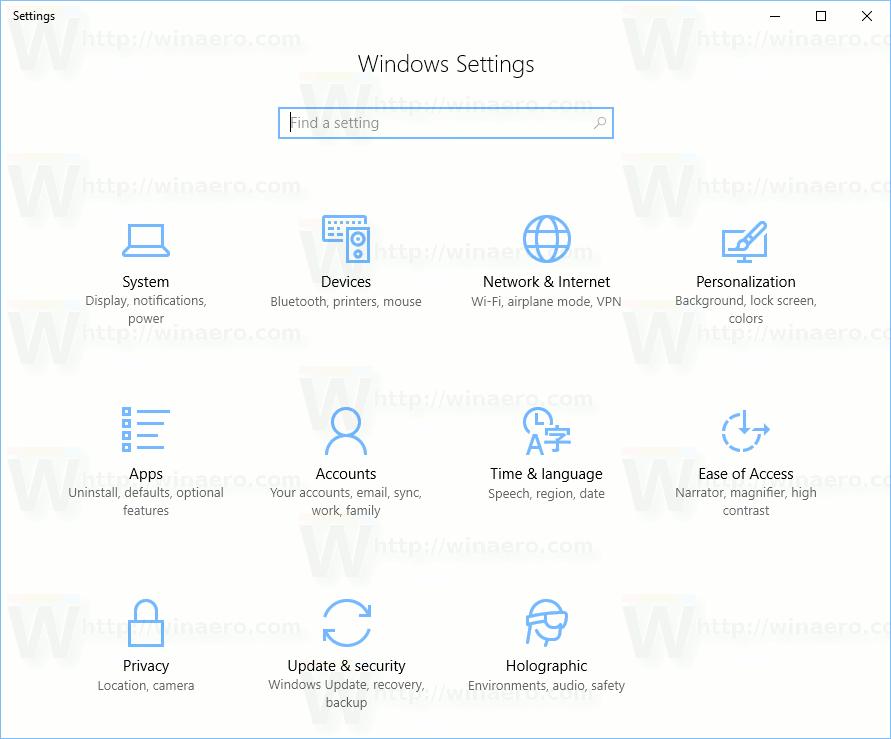 Windows 10 Creators Update Settings