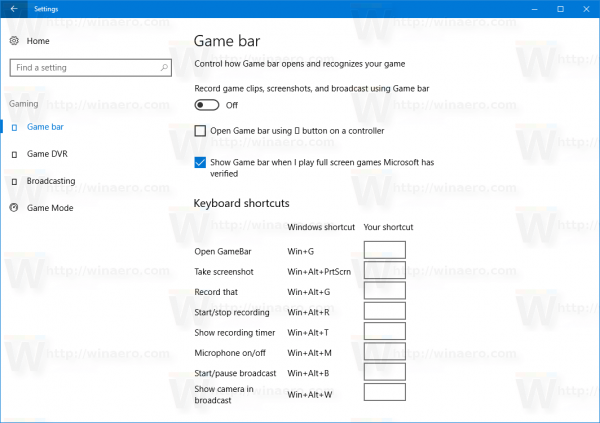 Windows 10 Disable Game Bar