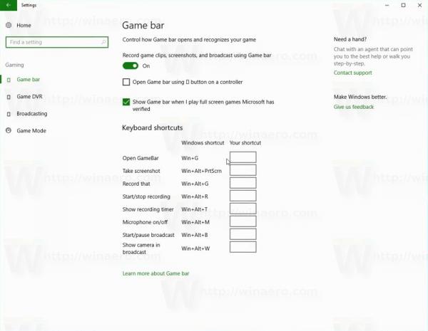Windows 10 Game Bar Options