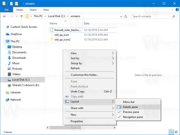 Windows 10 Layout Pane Context Menu