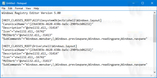 Windows 10 Layout Pane Context Menu Tweak Contents