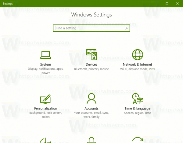 Windows 10 Open Settings