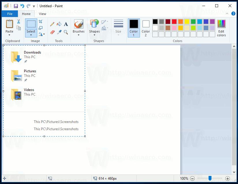 Windows 10 Screenshot Of Selected Region In Paint