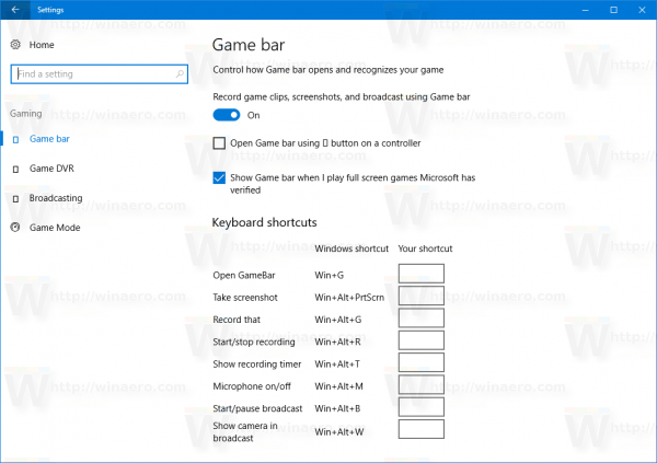 Windows 10 Settings Game Bar Options