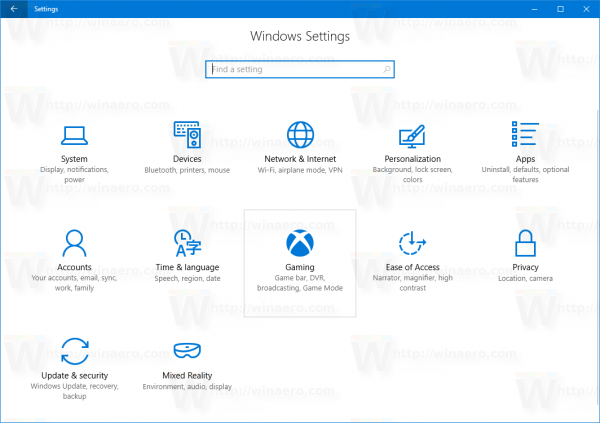 Windows 10 Settings Gaming Hovered