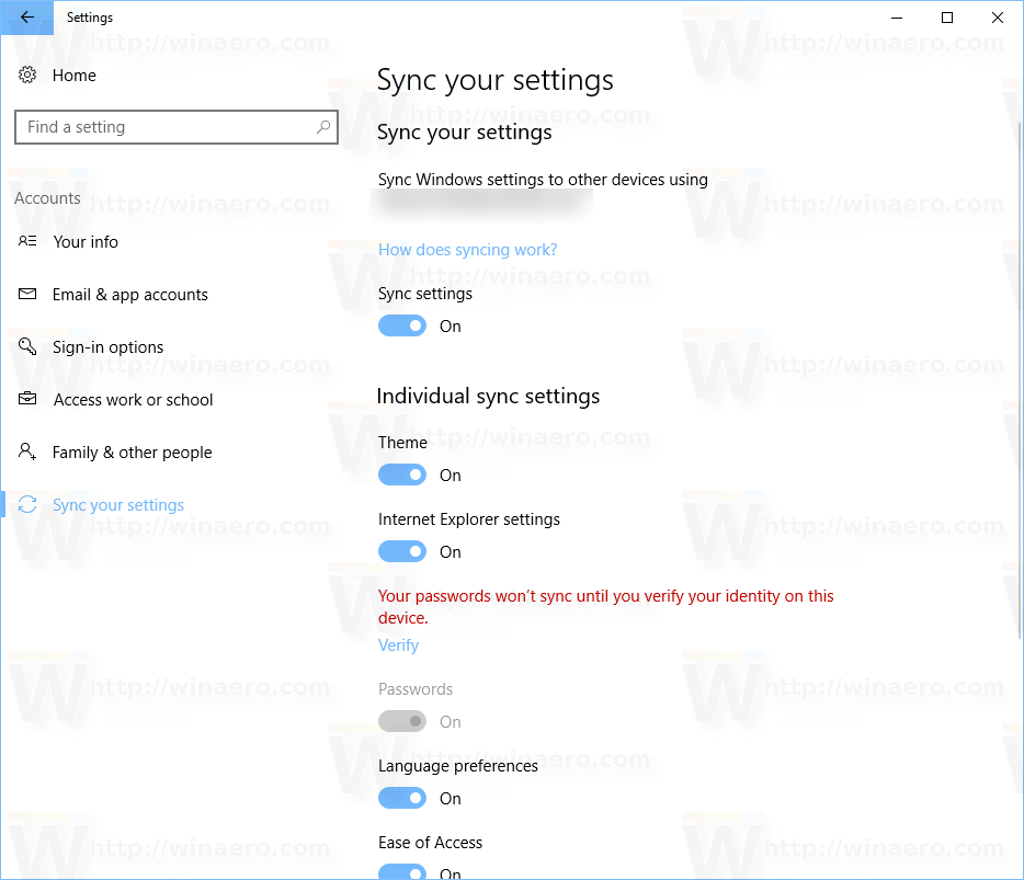 Turn On or Off Sync Settings in Windows 10