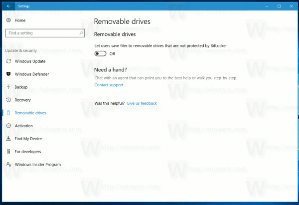 Windows 10 USB Write Protection Option