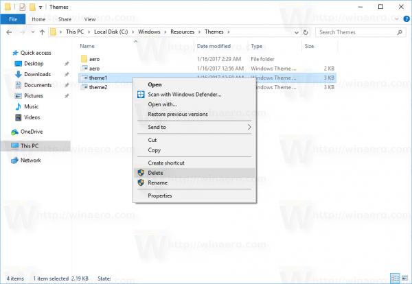 Windows 10 Delete Default Themes