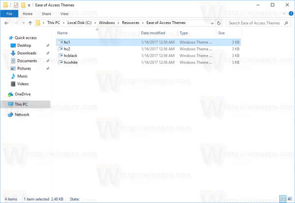 Windows 10 High Contrast Themes Folder