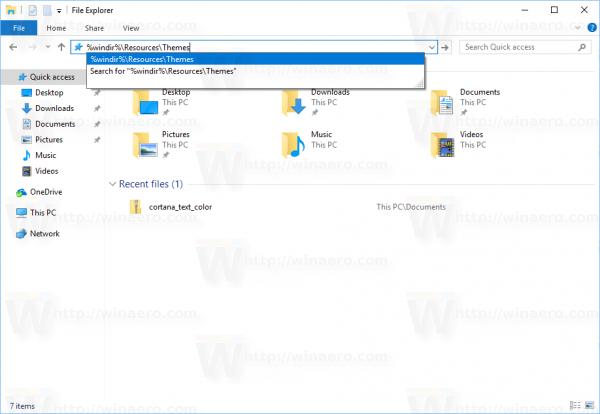 Windows 10 Open Default Themes Folder