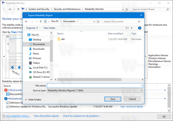 Windows 10 Reliability History Save Report