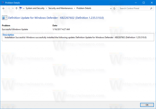 Windows 10 Reliability History View Details