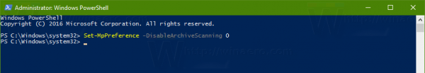 Windows Defender Enable Archive Scan