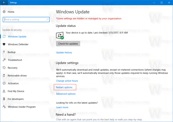 Windows Update Page Restart Options Link