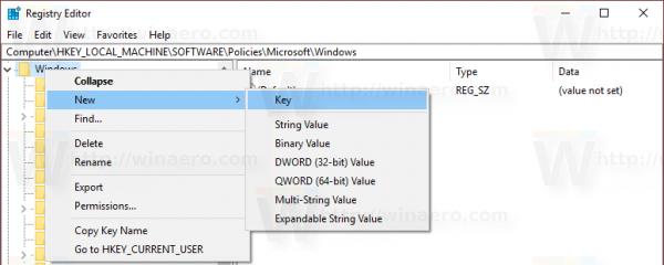 Windows Update Policy Key