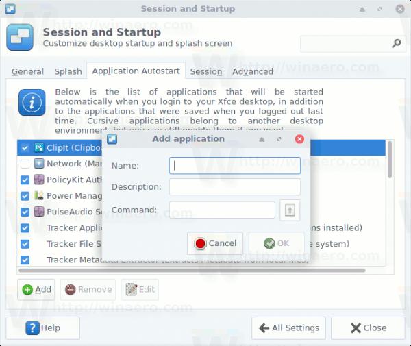 XFCE4 Application Autostart