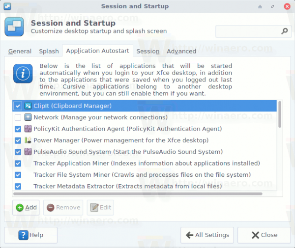 XFCE4 Application Autostart Tab