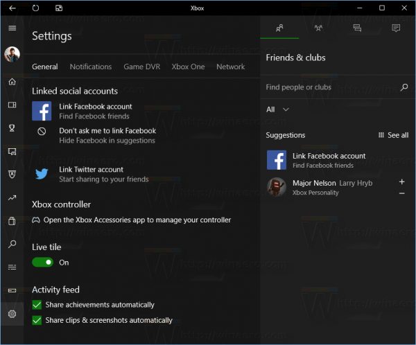 Xbox App Settings Pane