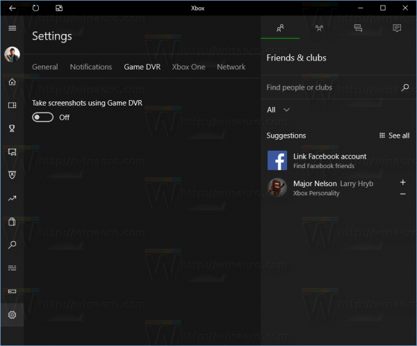 Xbox App Settings Pane Game DVR Disabled