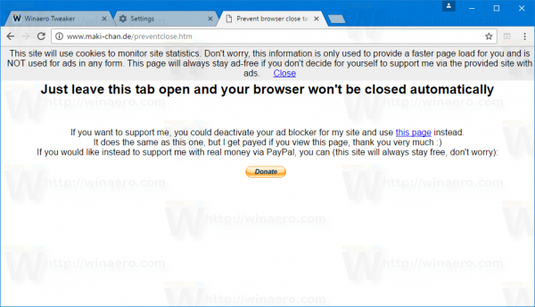 Chrome Prevent Close Web Page