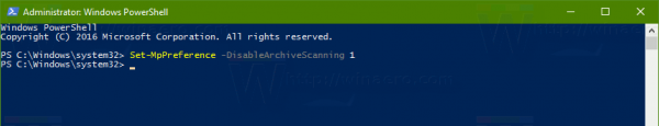 Windows Defender Disable Archive Scan