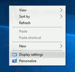 Display Settings Context Menu Desktop