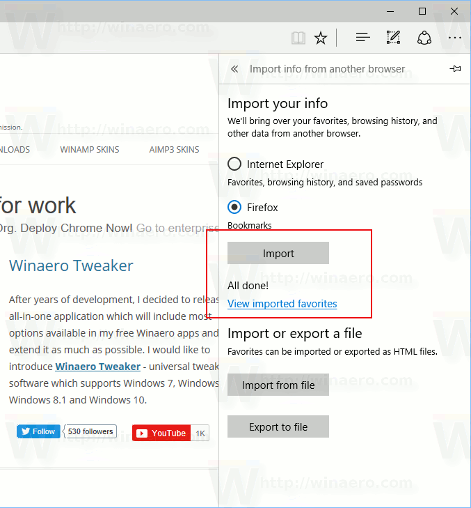 Import History, Bookmarks and Saved Passwords to Microsoft Edge
