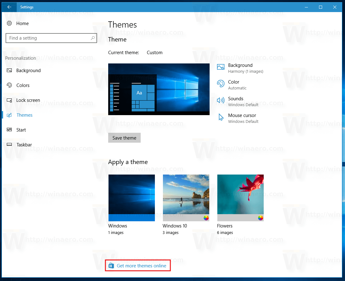 how to install themes from store in windows 10