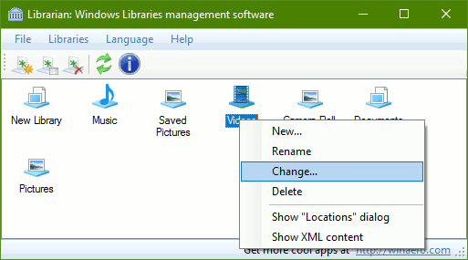 Librarian Change Context Menu