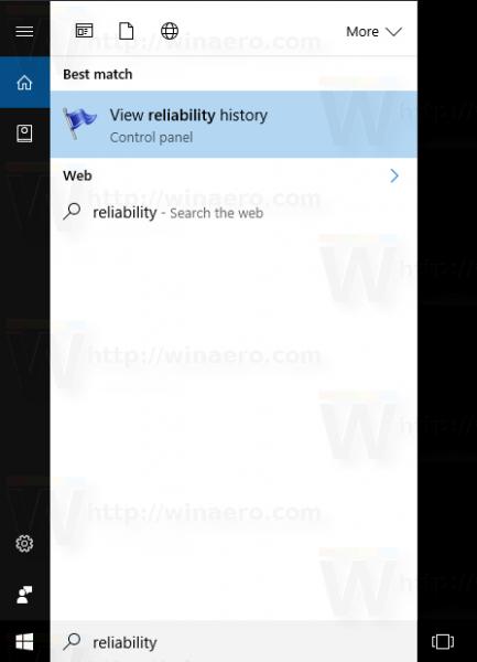 Open Reliability Monitor In Windows 10