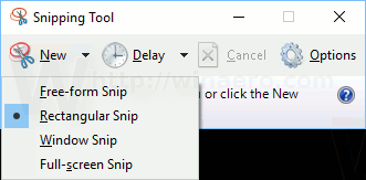 Snipping Tool Capture Type