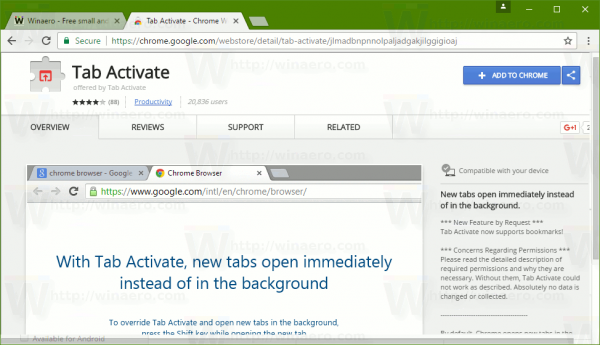 Tab Activate Extension Page