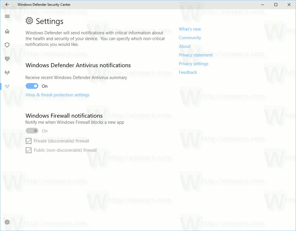 Windows Defender Security Center Settings