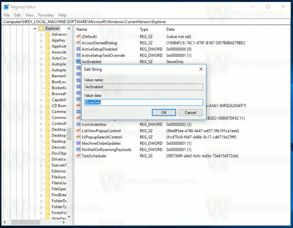 Choose Where Apps Can Be Installed From In Windows 10 Registry