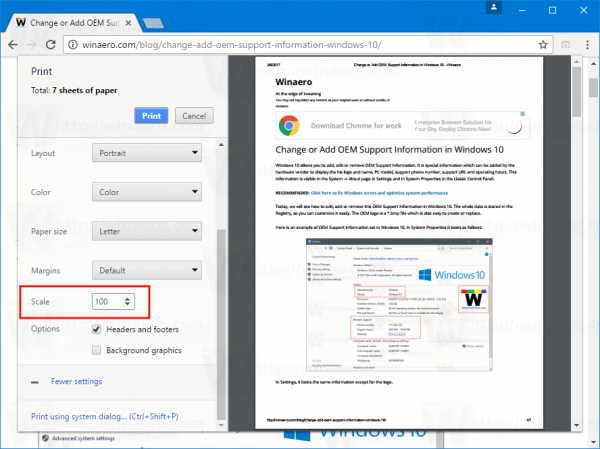 Chrome Print Scaling Enabled