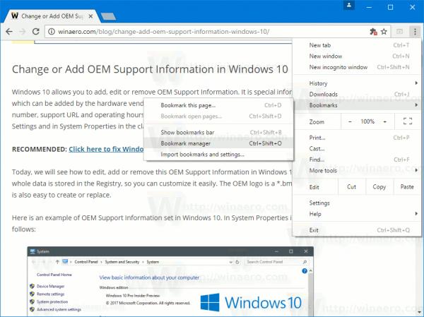 Chrome Bookmarks Manager Menu Item