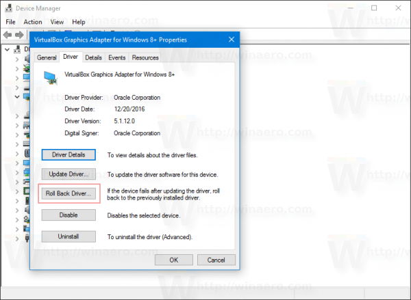 Driver Tab Device Properties Dialog