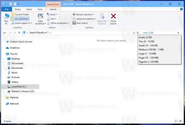 File Explorer Search Custom Filter