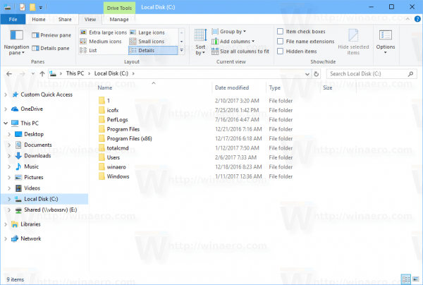File Explorer Details View