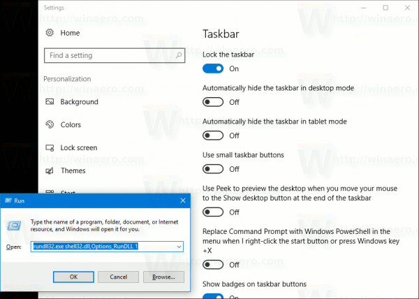Open Taskbar Settings
