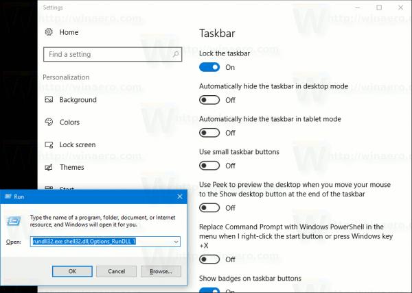 Open Taskbar Settings