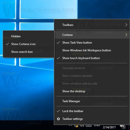 Taskbar Cortana Icon Enabled