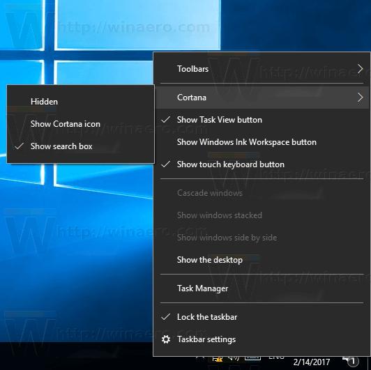 Taskbar Context Menu Cortana Item