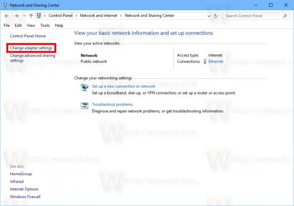 Windows 10 Change Network Adapter Link