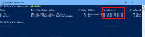 Windows 10 Find MAC Address PowerShell