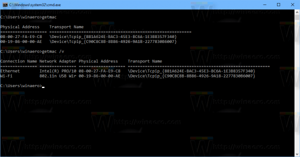 Windows 10 Find MAC Address Console