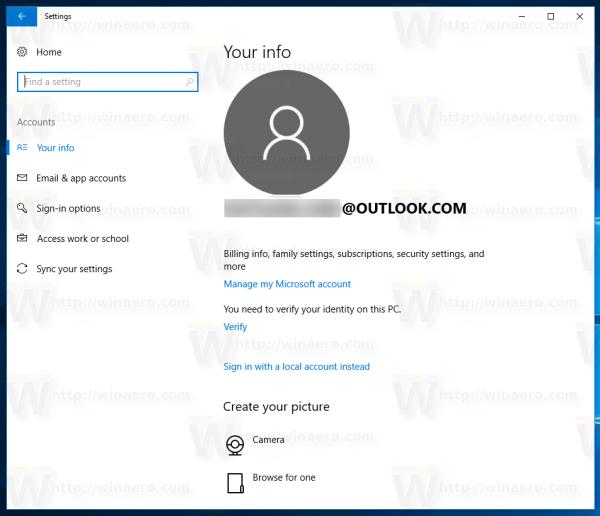 Windows 10 Microsoft Account Example
