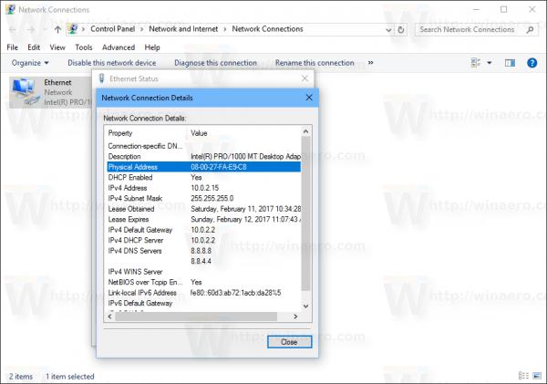 Windows 10 Network Connection MAC